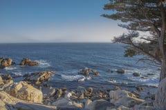 Взгляд моря от пункта Pescadero вдоль привода Калифорнии 17 миль Стоковое Фото