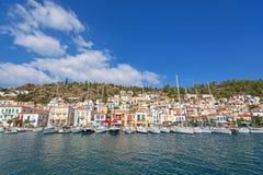 взгляд моря poros острова Греции Стоковая Фотография RF