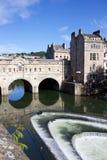 Взгляд моста Pulteney и реки Эвона, ванны, Англии Стоковое Изображение