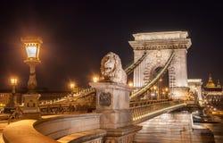 Взгляд моста Szechenyi цепного в Bupapest, Венгрия ночи Стоковое фото RF
