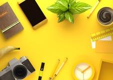 Взгляд настольного компьютера офиса с объектами дела в желтом цвете иллюстрация вектора