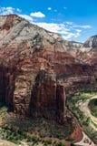 Взгляд национального парка Сиона от верхней части посадки Angel's, Юты, США Стоковые Фотографии RF