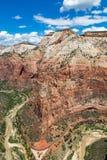 Взгляд национального парка Сиона от верхней части посадки Angel's, Юты, США Стоковые Фото