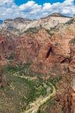 Взгляд национального парка Сиона от верхней части посадки Angel's, Юты, США Стоковые Изображения RF