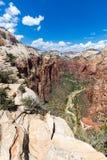 Взгляд национального парка Сиона от верхней части посадки Angel's, Юты, США Стоковая Фотография RF