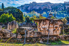 Взгляд на акрополе от старой агоры, Афин, Греции Стоковая Фотография