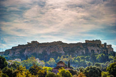 Взгляд на акрополе от старой агоры, Афин, Греции Стоковые Фото