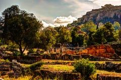 Взгляд на акрополе от старой агоры, Афин, Греции Стоковое фото RF