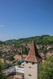 Взгляд над башней церковь-крепости в Biertan Стоковые Изображения RF