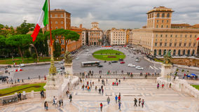 Взгляд над венецианским квадратом в Риме - аркаде Venezia Стоковое Фото