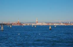 Взгляд на Венеции от острова Lido, Италии Стоковая Фотография RF
