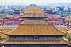 Взгляд на верхних частях крыши известного музея в Пекине, Китая дворца Стоковое Изображение RF