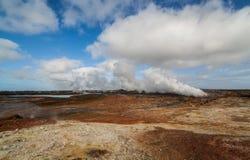 Взгляд над геотермической областью Стоковое Изображение