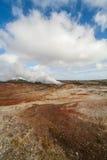 Взгляд над геотермической областью Стоковые Фотографии RF