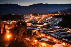 Взгляд на городе Ronda на ноче Стоковые Фото