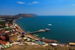 Взгляд на городе Sudak от Genoese крепости Стоковое Фото