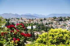 Взгляд на городке Гранады старом, Испании Стоковое Изображение RF