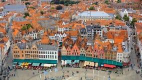 Взгляд над городком Брюгге историческим старым Стоковое Изображение