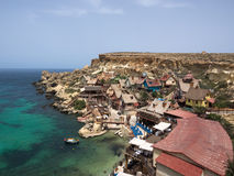 Взгляд над деревней Popeye, Мальтой Стоковое фото RF