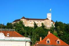 Взгляд на замке Любляны, Словении, Европе Стоковое Изображение RF