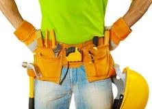Взгляд на инструментах в поясе подрядчиков стоковые изображения