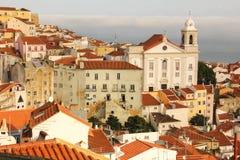 Взгляд над кварталом Alfama. Лиссабон. Португалия Стоковая Фотография