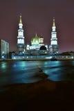 Взгляд на мечети собора Москвы в ноче Стоковое фото RF