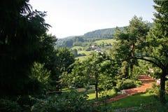 Взгляд над немецкой деревней в лете Стоковые Фото