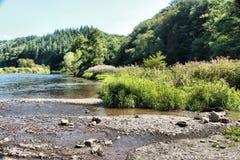 Взгляд на реке Semois, бельгийце Арденн Стоковое Изображение RF