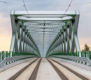 Взгляд на реконструированном старом мосте от стороны Petrzalka Стоковые Фотографии RF