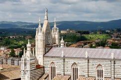 Взгляд над Сиеной и собором. Стоковая Фотография RF