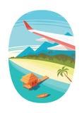 Взгляд на тропическом пляже от самолета на белой предпосылке Стоковая Фотография RF
