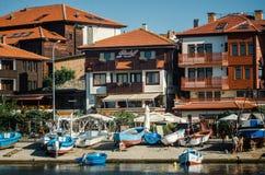 Взгляд на улице Angelo Roncalli в старом городке Nessebar Древний город Nessebar место всемирного наследия ЮНЕСКО Стоковые Изображения