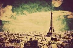 Взгляд на Эйфелева башне и Париже, Франции. Ретро винтажный стиль Стоковое фото RF