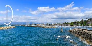 Взгляд на яхтах и шлюпках на порте Ouchy Стоковое Фото