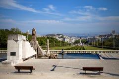 Взгляд на Avenida da Liberdade в Лиссабоне Стоковые Фотографии RF
