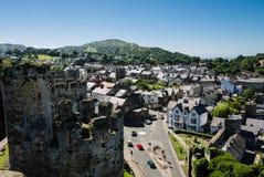 Взгляд на Conwy от средневекового замка Стоковые Изображения