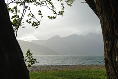 Взгляд над Lago Maggiore и окружающими горами Стоковые Фото