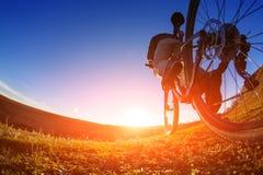 Взгляд низкого угла велосипедиста стоя с горным велосипедом на следе на заходе солнца Стоковые Фотографии RF