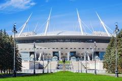 Взгляд нового стадиона Санкт-Петербурга футбола (Krestovsky) в Санкт-Петербурге для кубка мира Стоковые Изображения RF