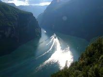 взгляд Норвегии горы geiranger фьорда Стоковое Изображение RF