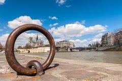 Взгляд Нотр-Дам Парижа Рекы Сена Стоковые Фотографии RF