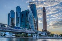 Взгляд ночи башни города Москвы Стоковые Изображения