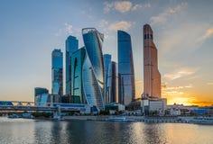 Взгляд ночи башни города Москвы Стоковое фото RF