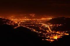 взгляд ночи выдержки города длинний Стоковая Фотография