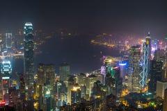 Взгляд ночи гавани Виктории, Гонконга Стоковые Изображения