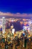 Взгляд ночи гавани Гонконга Виктории Стоковое фото RF