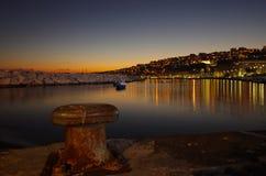 Взгляд ночи гавани Неаполь Стоковая Фотография RF