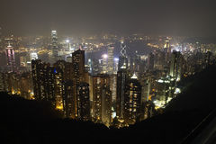 Взгляд ночи Гонконга на пике Стоковое Изображение RF