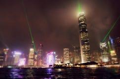 Взгляд ночи горизонта Гонконга Стоковые Изображения